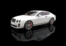 White Business Car On Black Background. High Resolution Render Of A 3D car Stock Photography
