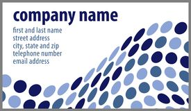 White Business Card with Blue Dots Vector. Vector illustration of business card design with wave of blue dots and space for text Royalty Free Stock Photography