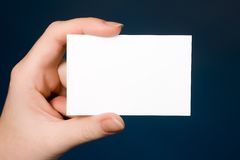 White Business Card on darkblue Royalty Free Stock Image