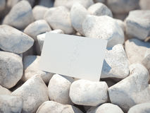 White business card on pebble. 3d rendering Royalty Free Stock Photo