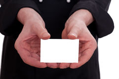 White business card with two hands Royalty Free Stock Images