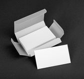 White business cards in the silvery box. Royalty Free Stock Images