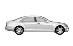 White business class car side view Royalty Free Stock Photos
