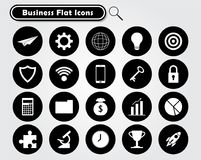 White Business Flat Icons On Black Circles. Vector Illustration Ready-To-Use 21 White Business Flat Icons On Black Circles Designed as Multiple Objects Involved Stock Photography