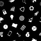 White Business Icons On Black Background Seamless Pattern Stock Images