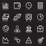 White business icons on black. Set of white business icons on black for use as design elements on charts or for business management and planning with assorted Royalty Free Stock Photo