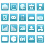 White business icons on blue squares Stock Photo
