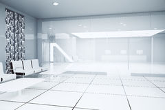 White business interior. Luxurious white business interior. Side view. 3D Rendering Royalty Free Stock Photography