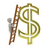 White business man climbs the ladder to gold dollar symbol. 3D render Stock Photos
