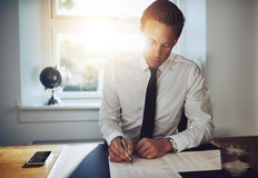 White business man signing a contract Stock Photography