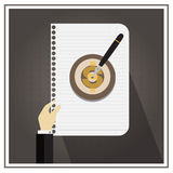 White business paper line write  black vector symbol target Royalty Free Stock Photos