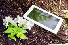 White Business Tablet On Soil Next To Some Flowers. A White Business Tablet On Soil Next To Some Flowers Stock Photography