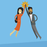 white business woman and indian business men doing high five. stock images
