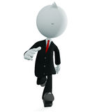White businessman character with running pose Stock Images