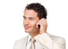 A white businessman in communication. With a white background Stock Photo