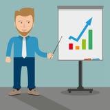 White Businessman Flipchart Growth Royalty Free Stock Photography