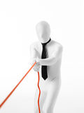 White businessman pulling a rope Royalty Free Stock Photography