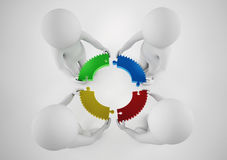 White businesspeople build a company. Concept of parthership and teamwork. 3D rendering. Stock Images