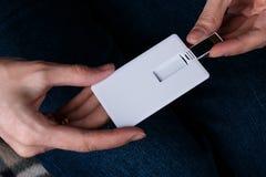 White bussines card, name card, usb flash memory card mockup design stock image