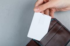 White Bussines, Usb Flash Memory, Credit Card In Mockup Design Royalty Free Stock Image
