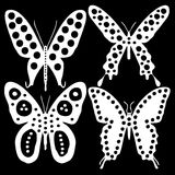 White butterflies on a black background. Set white butterflies on a black background Royalty Free Stock Photos