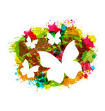 White Butterflies on Colorful Grunge Texture Royalty Free Stock Photography