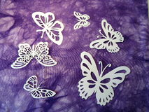 White butterflies. Paper cutting. Royalty Free Stock Image