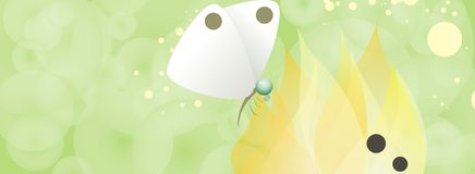 White Butterfly. An illustration of a white butterfly sitting on a yellow flower Royalty Free Stock Images
