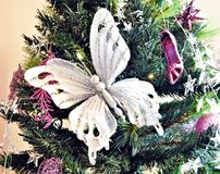 White butterfly on a Christmas tree Stock Image