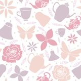 White Butterfly Flowers Teapots Spring Garden Tea Party Seamless Pattern stock illustration