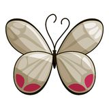 White butterfly icon, cartoon style Royalty Free Stock Photo