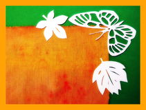 White butterfly and leaves. Paper cutting. Royalty Free Stock Photography
