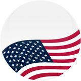 White Button with American Flag. Election themed round button with 3d effect, waving American flag - clipping path included Stock Image