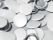 White button badges. 3d rendering. White button badges isolated on gray background. 3d rendering Royalty Free Stock Photo
