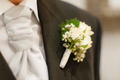 White Buttonhole Flower. At a wedding. Focus on the flower and suit lapel with everything beyond out of focus Stock Images
