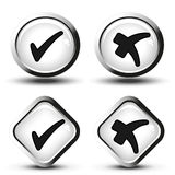 White buttons with black simple check mark symbols, square and circle buttons Royalty Free Stock Image