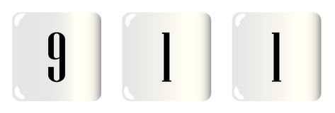 911 Dice On White. White buttons with the numbers 911 embosed Royalty Free Stock Photos