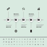 White buttons timeline with set of icons Stock Photo