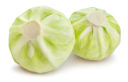 White cabbage. On white background stock photography