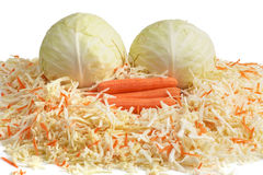 White Cabbage and Carrots. Сhopping. Royalty Free Stock Photo