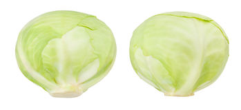 White cabbage. Isolated on white stock images