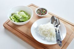Healthy Thai food. White cabbage and rice with chilli fish sauce, healthy Thai style Stock Image