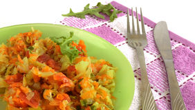 White cabbage stewed with tomatoes and carrots Royalty Free Stock Images