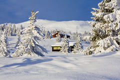 White Cabin Christmas Royalty Free Stock Photo