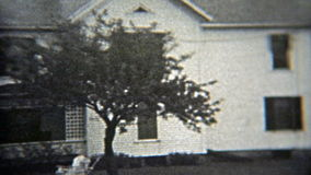 1937: White cabin country living residential community summer getaway. stock video