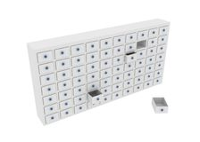 White Cabinet. White 3d cabinet, horizontal, over white, cutout Royalty Free Stock Photo
