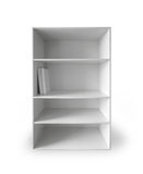 White cabinet with empty shelves on white Stock Images