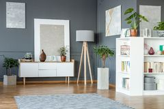 White cabinet and shelves. Wooden lamp and paintings on the grey wall in living room interior Royalty Free Stock Photos