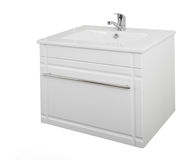 White cabinet with washbasin. Made of wood particle board lamina Stock Images