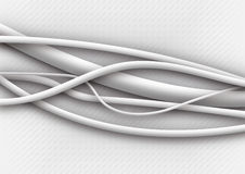 White cables. Fibre-optical wihte silvered cables on a white background Stock Photo